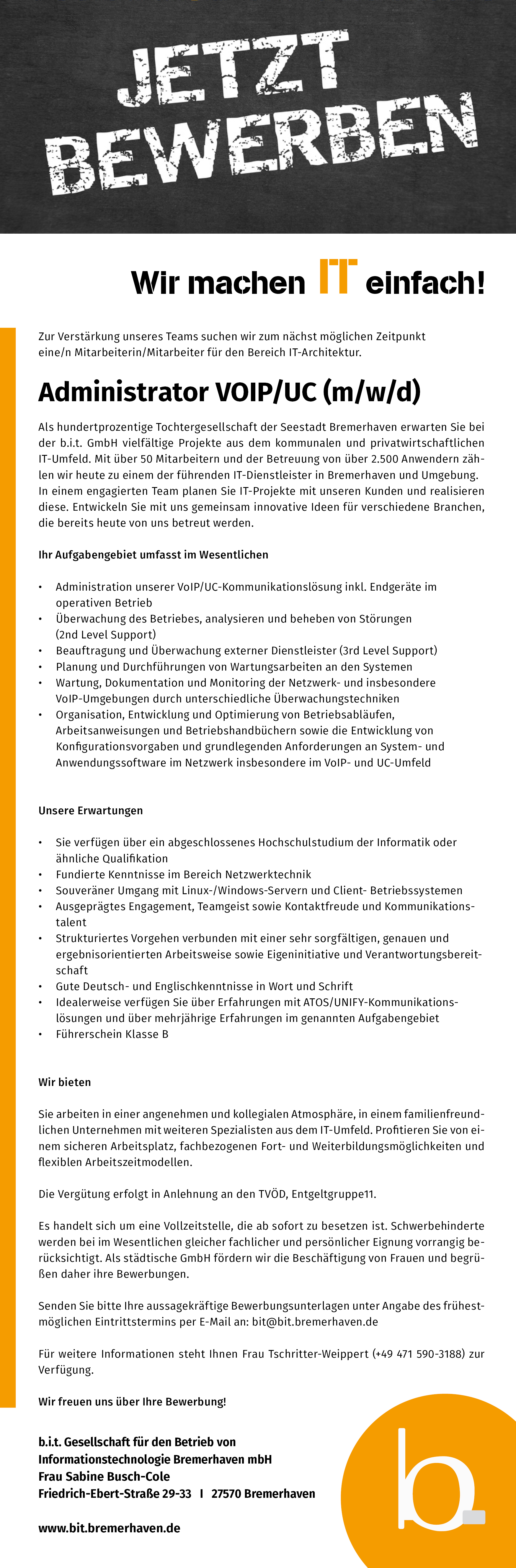 Stellenausschreibung VoIP/Unified Communications (m/w/d)